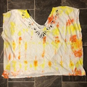 FREE PEOPLE OVERSIZED CROPPED TIE DYED TOP S